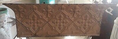 "Antique Tin Ceiling Tile Shelf 4' FT RECLAIMED Gothic 47"" *Salvage Brown"