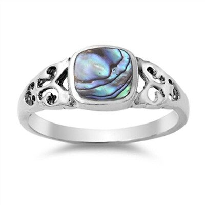 Celtic Design with Abalone Shell .925 Sterling Silver Ring Sizes 5-10