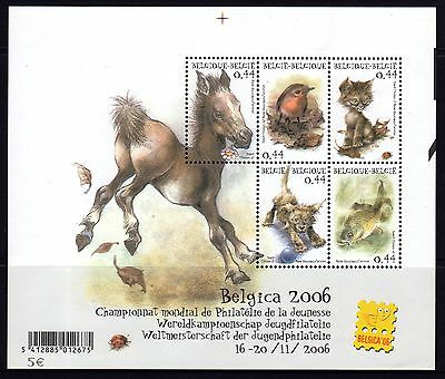 Belgium 2004 Pets Belgica 2006 World Youth Philatelic Exhibition Sheetlet 5 MNH