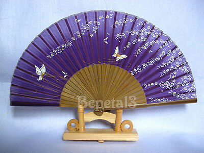Butterfly Hand Held Silk Bamboo Folding Fan Wedding Favor HSF25b