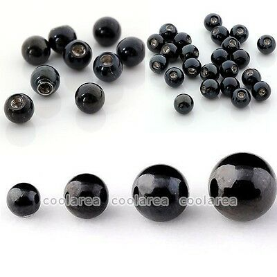 100pc Black Stainless Steel Ball Top Bead Accessory For Body Navel Nose Piercing