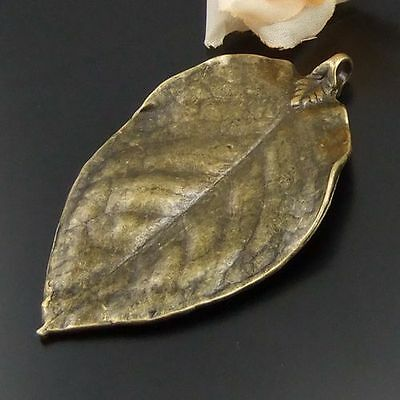 Antique bronze style necklace  large leaf pendant 4PCs 01494