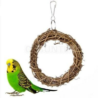Bird Parrot Rattan Swing Ring Hanging Pet Parakeet Budgie Cockatiel Cage Toys