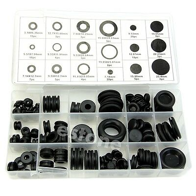 125Pcs Car Truck Boat Rubber Sealing Round Ring Gasket Grommets Assortment Kit