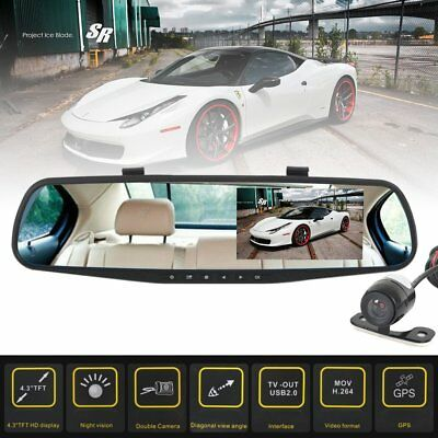 HD 4.3''Dual Lens Recorder Mirror Vehicle DVR Dash Cam Rear View Car Camera New