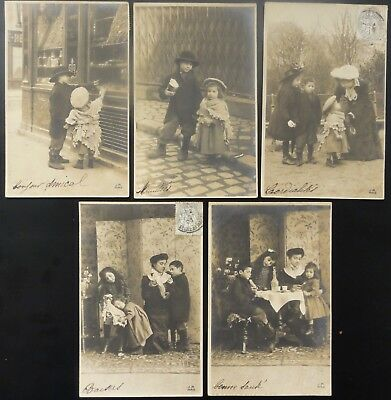 HUNGRY CHILDREN BOY & GIRL LOOK AT FOOD IN SHOP WINDOW c1904 set of 5 UB By J.M.