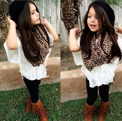 4PCS Toddler Baby Girl Outfits lace coat + vest + pants+ scarf Clothing set