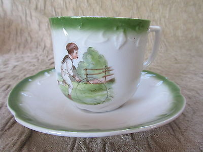 Antique Transferware Cup & Saucer Child Rolling Hoop Toy