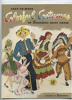 Old 1956 Dennison Crepe Paper Colorful Costumes Booklet
