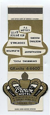 Old Matchbook Cover Diecut Crown Motel Lansing IL