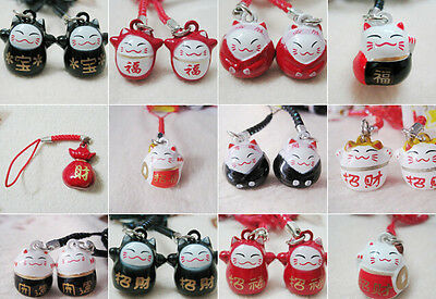 New Lot 10 pcs cartoon lovely Lucky cat mixed Bell Cell Phone Charm Strap