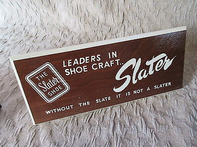 Old Vintage Wooden Slater Shoes Advertising Sign