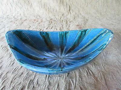 Old Quebec Retro Art Pottery Turquoise & Green Bowl A151