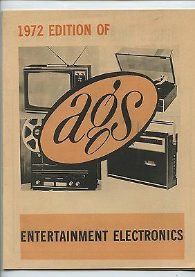 Old 1972 AGS Entertainment Electronics Catalog Stereos TV's Turn Tables