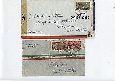 2 Old 1943 Mexico Airmail Postal Covers Passed by Censor