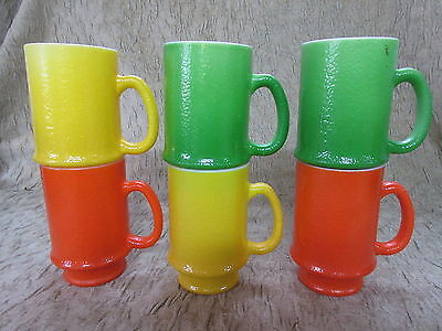 Old Set 6 Retro Milk Glass Bright Colors Tall Stacking Coffee Mugs