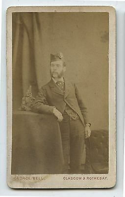 Nice Antique CDV Photo Scottish Gentleman with Badge on Cap
