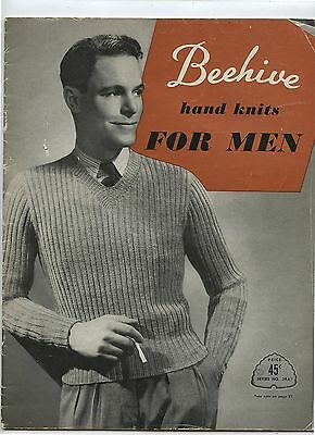 Old 1950's Beehive Hand Knits for Men Magazine