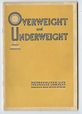 Old 1930's Metropolitan Life Insurance Overweight & Underweight Booklet