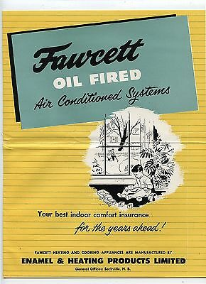 Old 1953 Fawcett Oil Fired Air Conditioned Systems Advertising Brochure