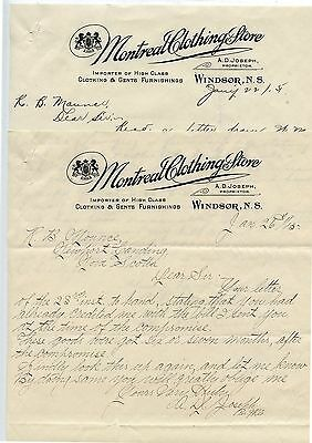 2 Old 1915 Montreal Clothing Store Windsor NS Letter Heads  A.D.Joseph
