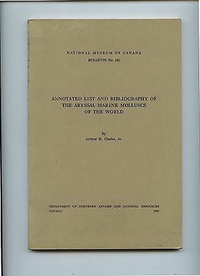 1962 Book Annotated list The Abyssal Marine Molluscs of the World  Arthur Clarke