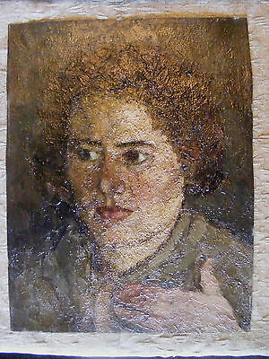 Antique Russian Impressionist Painting Oil On Canvas Portait of Mother