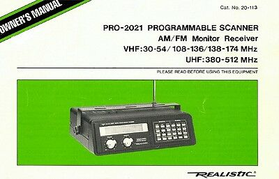 Realistic PRO-2021 OWNERS MANUAL 20-113 Radio Scanner Book on CD PDF