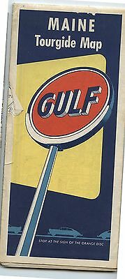 Old 1956 Gulf Gas Station Road Map Maine