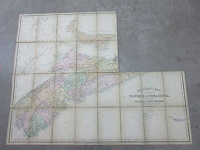Antique Map on Linen 1862 MacKinlay's Province of Nova Scotia