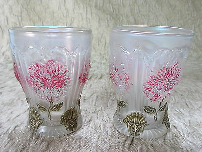 Pair of Antique Dugan Dahlia White Carnival Glass Tumblers