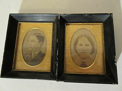 2 Antique Cabinet Photos in Wooden & Embossed Brass Frames