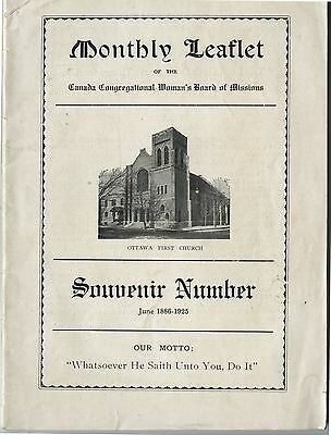 Old 1925 Leaflet Canada Congregational Woman's Board of Missions