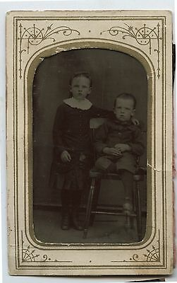Antique Tintype Photo Boy & Girl with chair