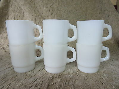 Set of 6 Old Retro Fire King Anchor Hocking White D Handle Stacking Coffee Mugs