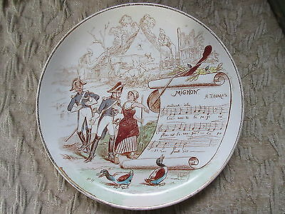 Antique Transferware Plate Sujets Musicaux Musical French Mignon byy A.Thomas
