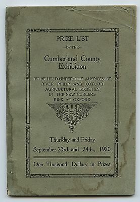 Old 1920 Cumberland County Exhibition Prize List Book Nova Scotia