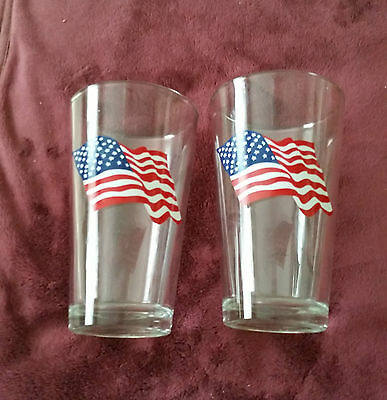 """SET OF ( 2 )   LIBBEY'S  AMERICAN FLAG    6 """"   DRINKING GLASSES"""