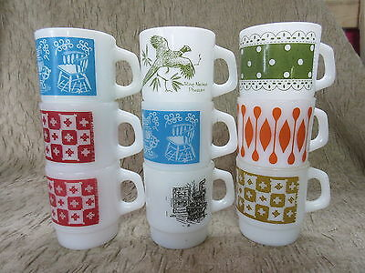 Set of 9 Retro Fire King Anchor Hocking D Handle Stacking Coffee Mugs C