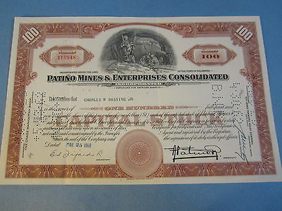 Old 1960 - PATINO MINES & Enterprises Consolidated - Stock Certificate