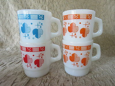Old Retro Design Set 4 Fire King Anchor Hocking Leaves  Coffee Mugs D Handle