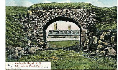 Old post card postcard Nova Scotia  Sally Port old French Fort Annapolis Royal