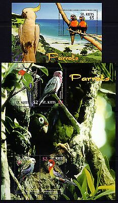 St Kitts 2005 Parrots Sheetlet 4 + M/S MNH