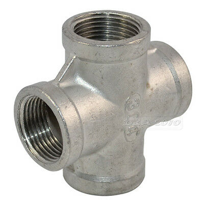 """1/2"""" Thread 4 Way Female Cross Coupling Connector SS 304 Pipe Fitting NPT Hi-Q"""