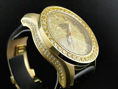 Mens Khronos Satin Gold Finish Canary Yellow Stone Real Diamond Watch