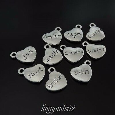 30pcs Antiqued Silver Alloy Necklace Jewelry Making DIY Heart with Words Family