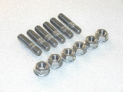6x M8 Stainless Steel Exhaust Studs + Flange Nuts Triumph 885 Engine Trident etc
