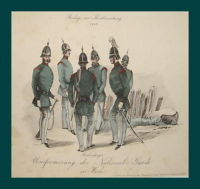Wien Nationalgarde Bürgerliche Revolution 1848 Uniform Garde Offizier Säbel Helm
