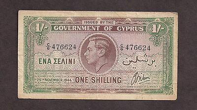 Cyprus 1944 1 Shilling Used Note  - 6624