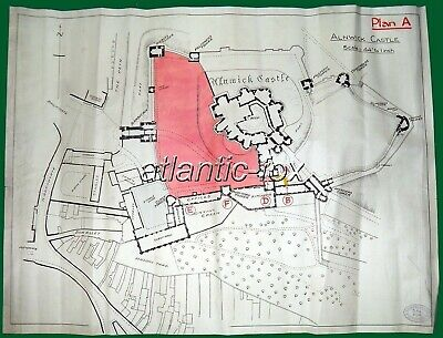 1949 Original ALNWICK CASTLE Printed Plan, Colour section Estate Office 3/11/49